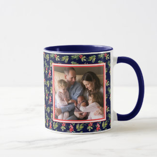 Christmas Watercolor Berries & Pines Pattern Mug