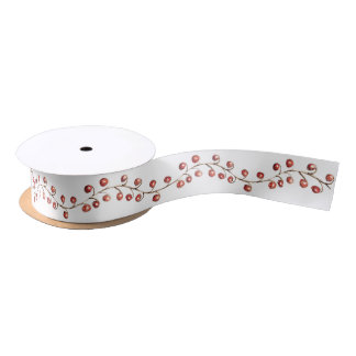 Christmas Watercolor Berries | Ribbon Satin Ribbon