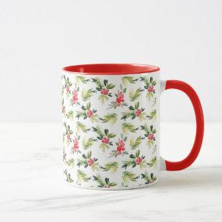 Christmas Watercolor Berry & Pine Pattern Mug