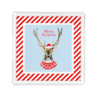 Christmas | Watercolor - Blue Santa Reindeer Acrylic Tray