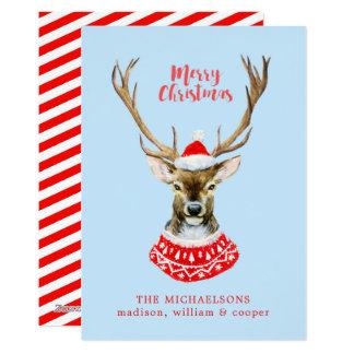 Christmas | Watercolor - Blue Santa Reindeer Card
