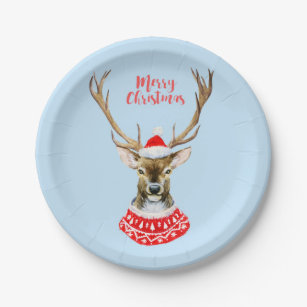 Christmas   Watercolor - Blue Santa Reindeer Paper Plate  sc 1 st  Zazzle & Reindeer Christmas Plates   Zazzle.com.au