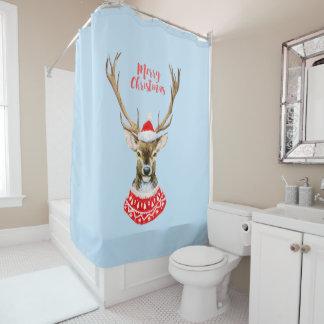 Christmas   Watercolor - Blue Santa Reindeer Shower Curtain