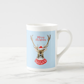 Christmas | Watercolor - Blue Santa Reindeer Tea Cup