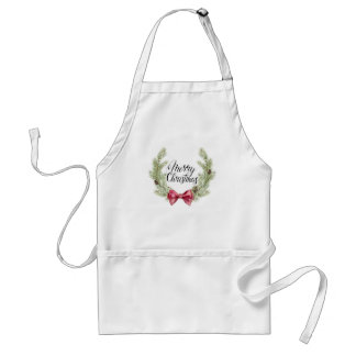 Christmas | Watercolor - Bow & Pines Quote Standard Apron