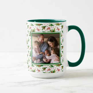 Christmas Watercolor Branches & Berries Pattern Mug