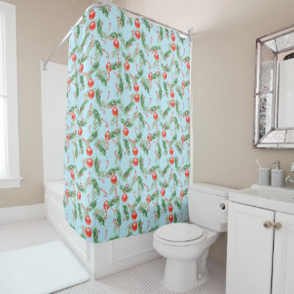 Christmas Watercolor Candy & Pines Pattern 3 Shower Curtain