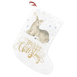 Christmas   Watercolor - Cute Winter Deer Small Christmas Stocking