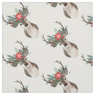 Christmas Watercolor Deer Antler Rustic Bouquet Fabric