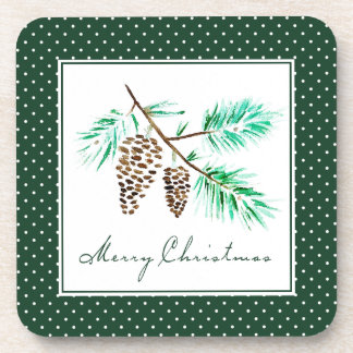 Christmas | Watercolor - Festive Pinecones Quote Coaster