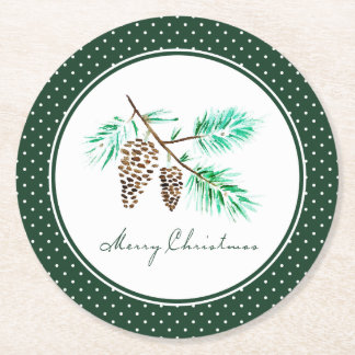 Christmas | Watercolor - Festive Pinecones Quote Round Paper Coaster