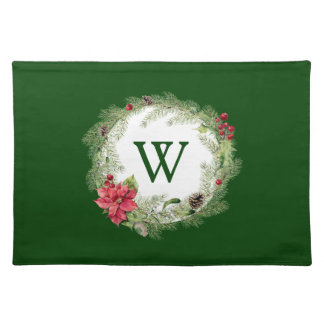 Christmas | Watercolor - Festive Poinsettia Wreath Placemat