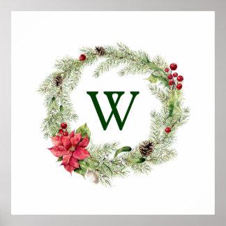 Christmas   Watercolor - Festive Poinsettia Wreath Poster
