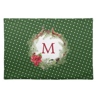 Christmas | Watercolor - Festive Reindeer Wreath Placemat