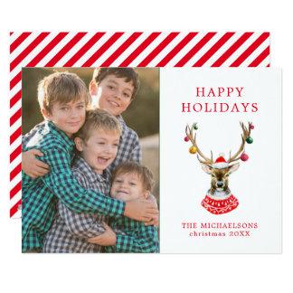 Christmas | Watercolor - Festive Santa Reindeer Card