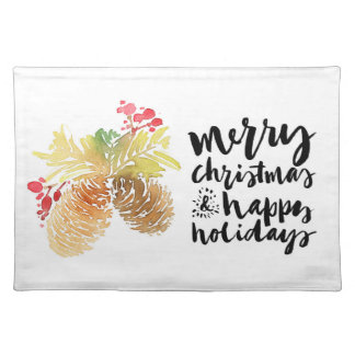 Christmas | Watercolor - Happy Holidays Pinecones Placemat