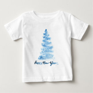 Christmas | Watercolor - Happy New Year Blue Tree Baby T-Shirt
