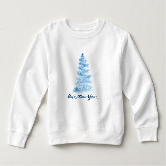 Christmas | Watercolor - Happy New Year Blue Tree Sweatshirt