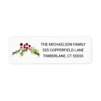 Christmas | Watercolor - Happy New Year Quote Return Address Label