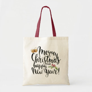 Christmas | Watercolor - Happy New Year Quote Tote Bag