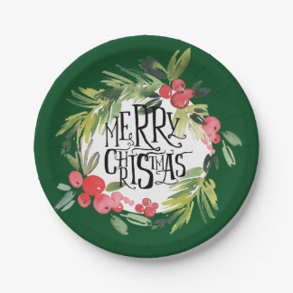 Christmas   Watercolor - Holiday Holly Wreath Paper Plate