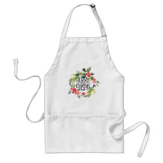 Christmas | Watercolor - Holiday Holly Wreath Standard Apron