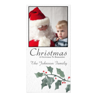 Christmas watercolor holly branch Photo Card