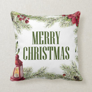 Christmas | Watercolor - Holly & Candle Frame Cushion