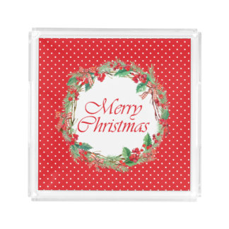 Christmas | Watercolor - Holly & Gingham Bow Wreat Acrylic Tray