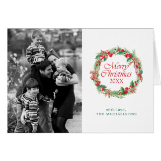 Christmas | Watercolor - Holly & Gingham Bow Wreat Card