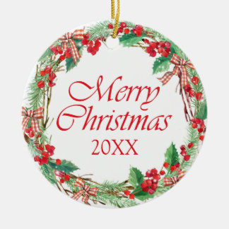Christmas | Watercolor - Holly & Gingham Bow Wreat Ceramic Ornament