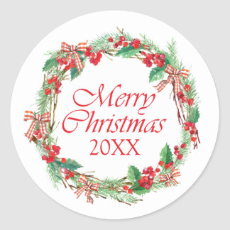 Christmas | Watercolor - Holly & Gingham Bow Wreat Classic Round Sticker