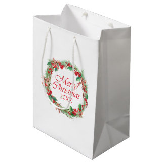 Christmas | Watercolor - Holly & Gingham Bow Wreat Medium Gift Bag