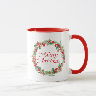 Christmas | Watercolor - Holly & Gingham Bow Wreat Mug