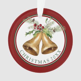 Christmas | Watercolor - Holly Mistletoe & Bells Ornament