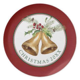 Christmas | Watercolor - Holly Mistletoe & Bells Plate