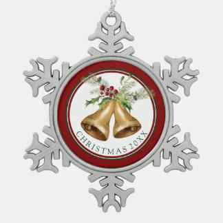 Christmas | Watercolor - Holly Mistletoe & Bells Snowflake Pewter Christmas Ornament