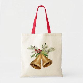 Christmas | Watercolor - Holly Mistletoe & Bells Tote Bag