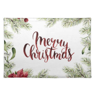 Christmas | Watercolor - Holly & Mistletoe Frame Placemat