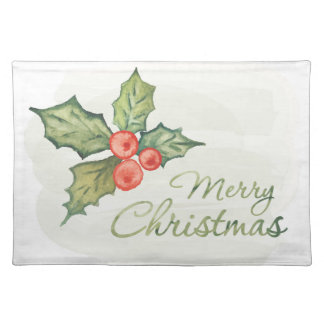 Christmas | Watercolor - Holly Typography Quote Placemat