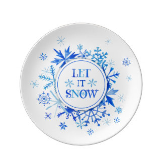 Christmas | Watercolor - Let It Snow Snowflakes Plate