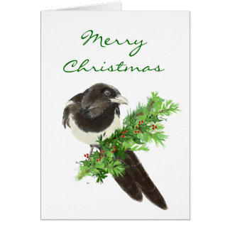 Christmas Watercolor Magpie Bird on Pine Branch Card