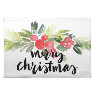 Christmas | Watercolor - Merry Christmas Holly Placemat