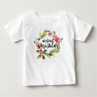 Christmas   Watercolor - Merry Christmas Wreath Baby T-Shirt