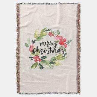 Christmas   Watercolor - Merry Christmas Wreath Throw Blanket