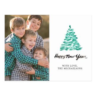 Christmas   Watercolor - New Year Green Tree Postcard