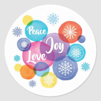 Christmas   Watercolor - Peace Love Joy Quote Classic Round Sticker