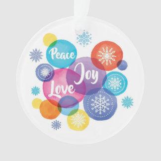 Christmas | Watercolor - Peace Love Joy Quote Ornament