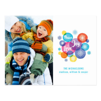 Christmas   Watercolor - Peace Love Joy Quote Postcard