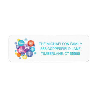 Christmas   Watercolor - Peace Love Joy Quote Return Address Label